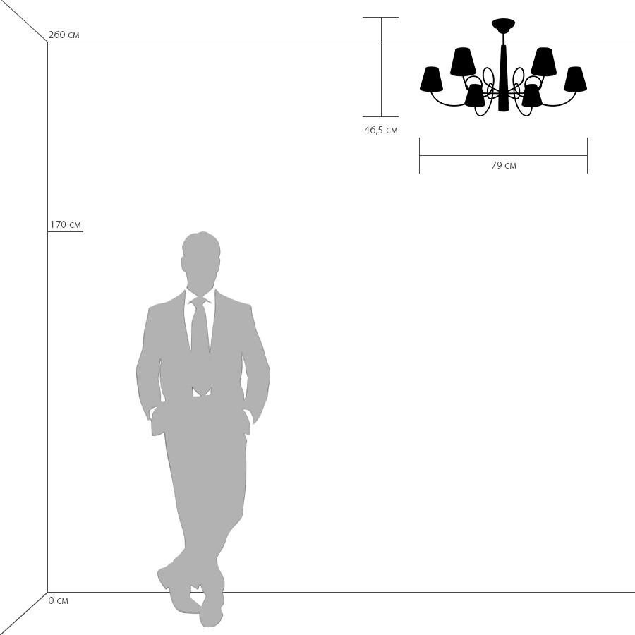 Схема с размерами Lightstar 814077